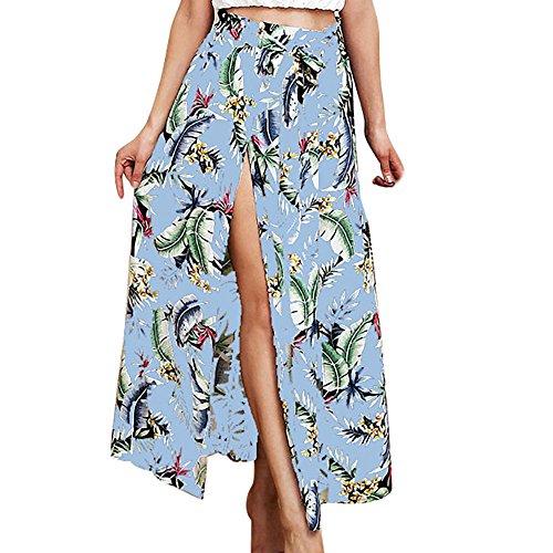Maxi LULIKA Longue Plage Longue BohMe Femmes Plage T Maxi Jupe Jupe Robe Clair Taille Fantaisie Imprimer Bleu Haute Jupe Feuille Vacances w77EqT