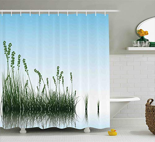 (Ambesonne Landscape Shower Curtain, Scenery of a Lake Bushes Grass with Reflection Floral Art Image Print, Cloth Fabric Bathroom Decor Set with Hooks, 75