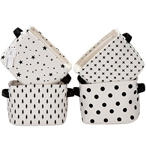 Storage Baby Baskets (Sea Team Foldable Mini Square New Black and White Theme 100% Natural Linen & Cotton Fabric Storage Bins Storage Baskets Organizers for Shelves & Desks - Set of 4 (Black))