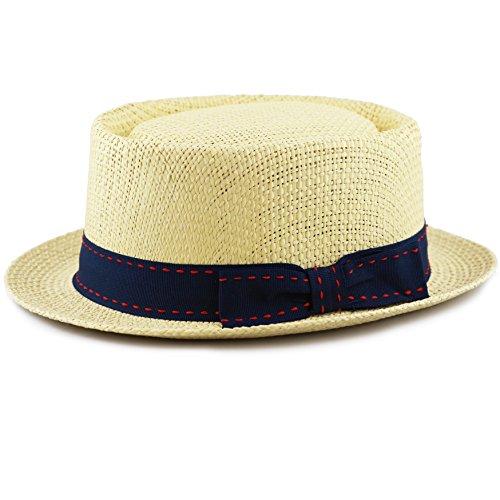 (THE HAT DEPOT Unisex Summer Paper Straw Short Brim Porkpie Stitched Grosgrain Band (L/XL, Natural) )