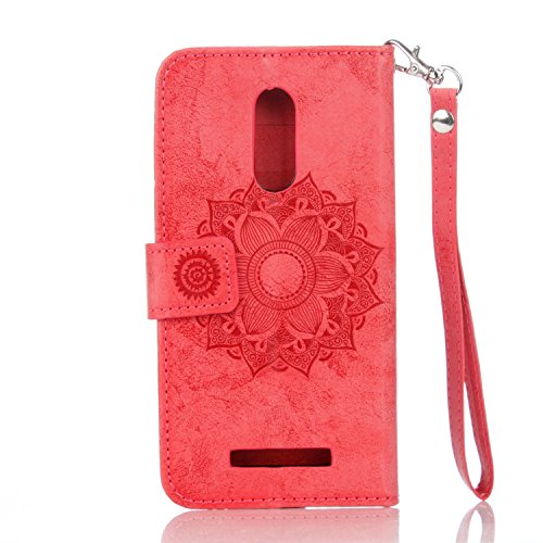IKASEFU Xiaomi Redmi Note 3 Case,3D Clear Crown Rhinestone Diamond Bling Glitter Wallet with Card Holder Emboss Mandala Floral Pu Leather Magnetic Flip Protective Cover for Xiaomi Redmi Note 3,Red by IKASEFU (Image #4)