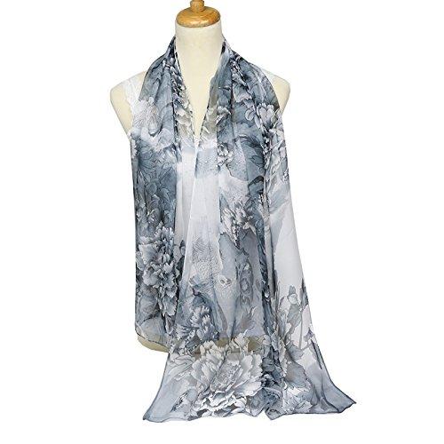 Black Silk Chiffon Dress (ChikaMika Floral Scarves for Women Black Peony Chiffon Scarves Lightweight Wrap Shawls)