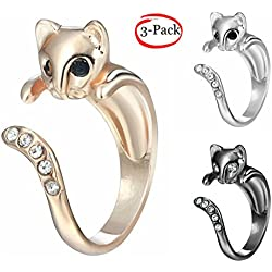MFV Meow Kitty Cat Adjustable Opening Ring - Stackable Fashion Jewelry - Set of 3pcs