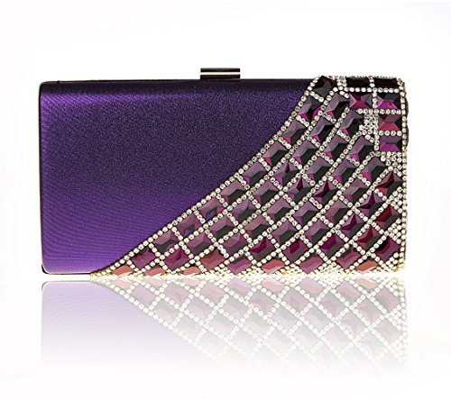 Purple Bag Bag Clutch Womens Rhinestone Chain Bags Handbag Dinner Shoulder Bags Bride FgO8wPq