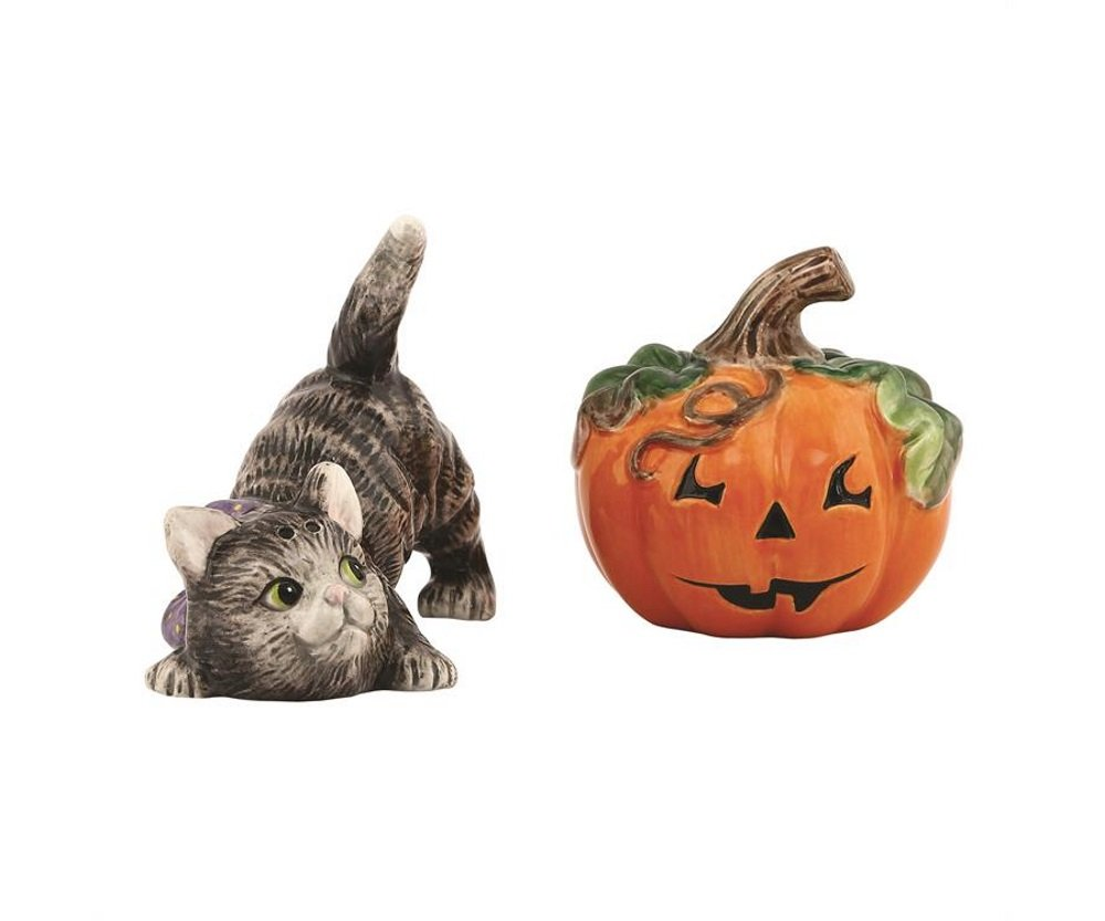 Halloween Collection, Kitty Cat with Pumpkin Salt & Pepper Set, Orange/Black by Fitz and Floyd