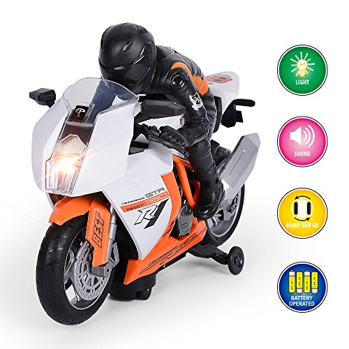 GPTOYS Motorcycle Toddler Toy Car for 2 3 4 5 Year Old Boys Girls Birthday Gift Preschool Games, Bump and Go Action Car with Light & Music
