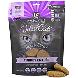 Vital Cat Freeze-Dried Turkey Mini Patties Grain Free Limited Ingredient Cat Entrée, 8 Ounce Bag