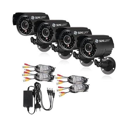 SUNLUXY® Kit 4PCS CCTV Cámara de vigilancia bala 420TVL CMOS IR 24 LED Outdoor Videovigilancia
