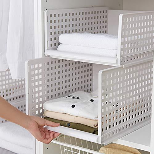 Tama?o1 XZANTE Desmontable Organizador de Ropa Armario Tabique Taburete Rack Caja de Almacenamiento de Ropa Dormitorio Capa de Almacenamiento de M/últiples Capas Apilable
