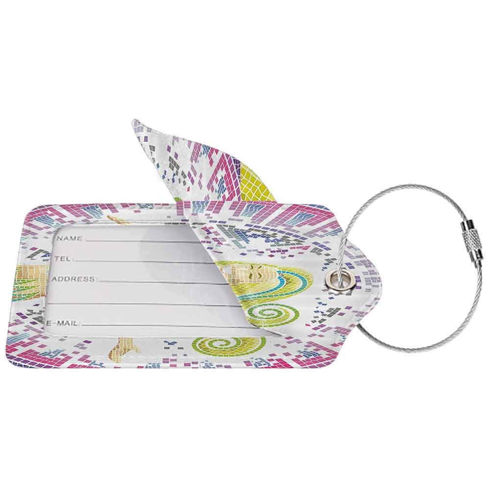 Small luggage tag Modern Decor Kids Room Mosaic Pattern Ombre Colorful Mermaid Quickly find the suitcase Purple Lilac Hot Pink and Light Green W2.7 x L4.6