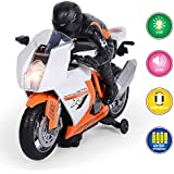 GPTOYS Kids Motorcycle Toy Electric Motorbike with Light & Music,Bump and Go Action Toy Car for Baby Boy Girl