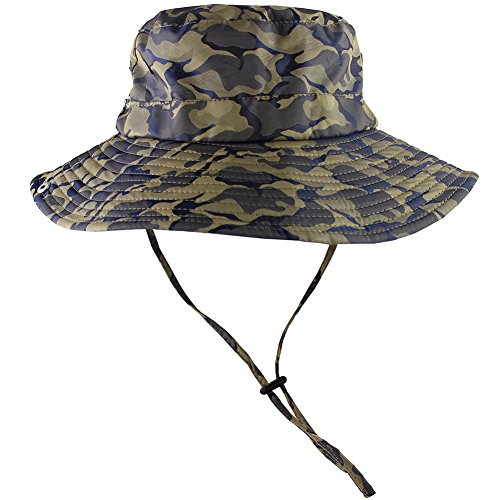95122dc42d3a54 CAMOLAND Camouflage Outdoor Fishing Boonie Hat with Wide Brim UV Protection  Summer Safari Sling Buc