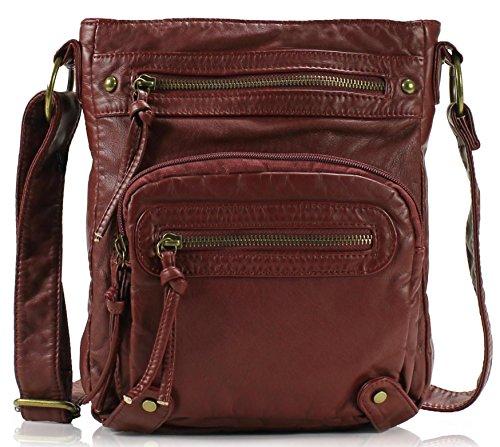 Scarleton Bag Multi H1693 Pocket Washed Burgundy Crossbody zrzxORIq