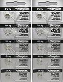Energizer 364 SR621SW Silver Oxide 0%Hg Mercury Free 10 Batteries