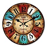 MEISTAR 12 Inch Wall Clock Silent Non Ticking Rustic Wall Clocks Large Decorative Quality Quartz Movement Decorated Living Room, Kitchen