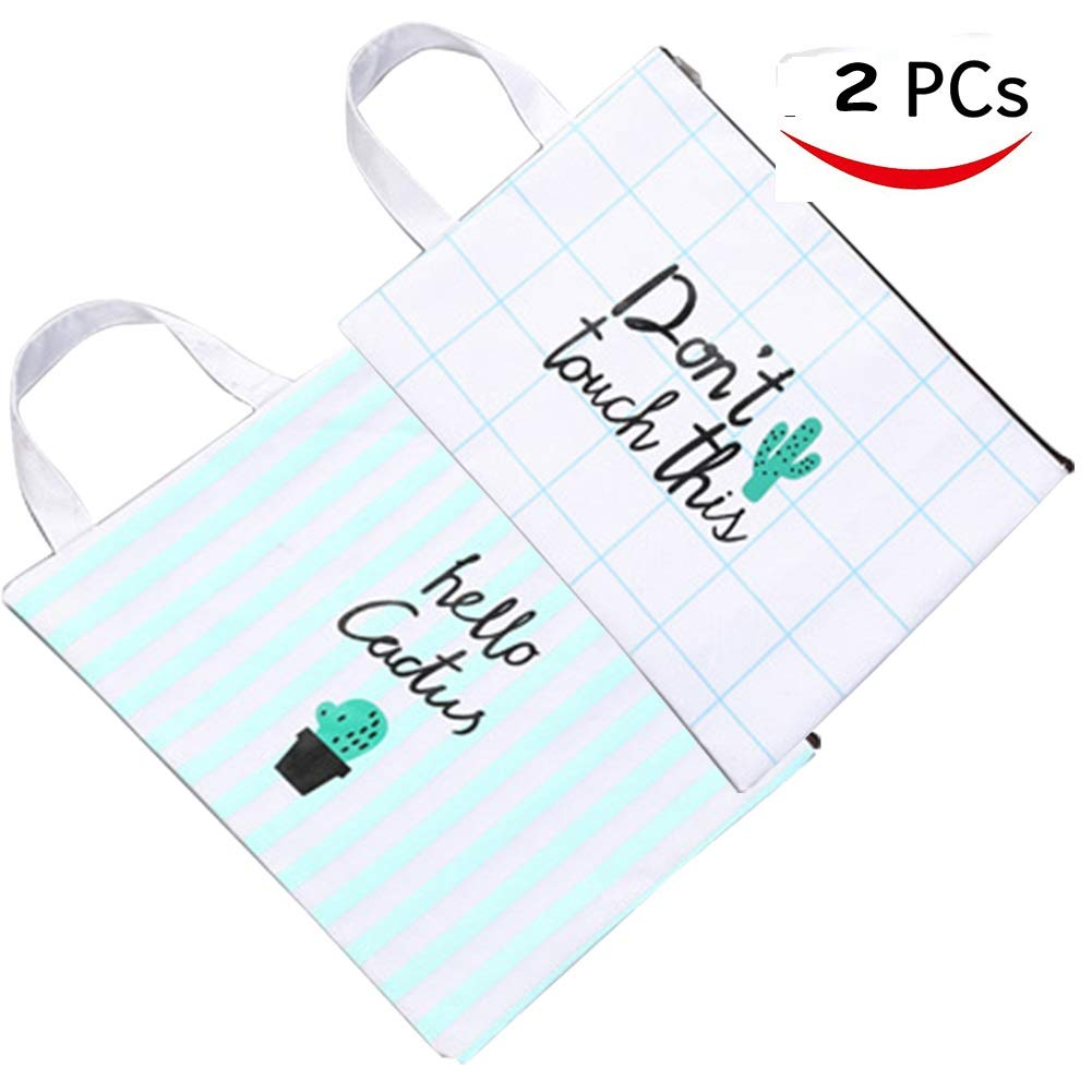 Bonaweite Creative Cactus Canvas Bag Portable File Pocket Large Capacity Pencil Stationery Storage Organizer Case Box Makeup Cosmetic Bags Pouch Holder Set of 2