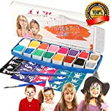 Buluri Face Paint Palette Kits, 16 Color Palette Face Body Painting Kits Non-Toxic Cosplay Paint Kit for Kids, Bonus 2 Brushes +40 Stencils, Perfect for Carnival, Easter, Theme Party,Children'gift