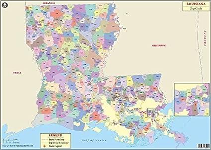 Map Of Louisiana Bayou.Amazon Com Louisiana Zip Code Map Laminated 36 W X 25 H