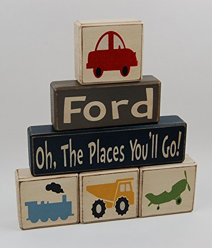 Primitive Country Wood Stacking Sign Blocks-Kids Room Decor-Oh The Places You'll Go-Car-Train-Dump Truck-Airplane-Personalized Name