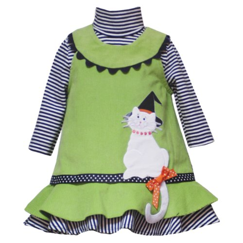 (Rare Editions Infant Girls 12M-24M 2-Piece LIME-GREEN BLACK WHITE KITTEN KITTY CAT CORDUROY Jumper Halloween Party Dress Set-12M-RRE-38690F-F138690)