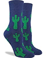 Good Luck Sock Women's Cactus Crew Socks - Blue, Adult Shoe Size 5-9
