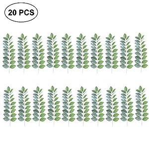 Pawaca Fake Plastic Greenery Plants Leaves Artificial Leaf Green Tropical Pants Wedding Flower Arrangement 20