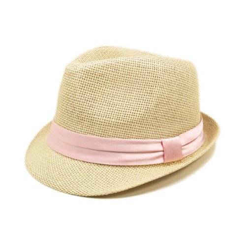 Band Straw - TrendsBlue Classic Natural Fedora Straw Hat, Pink Band