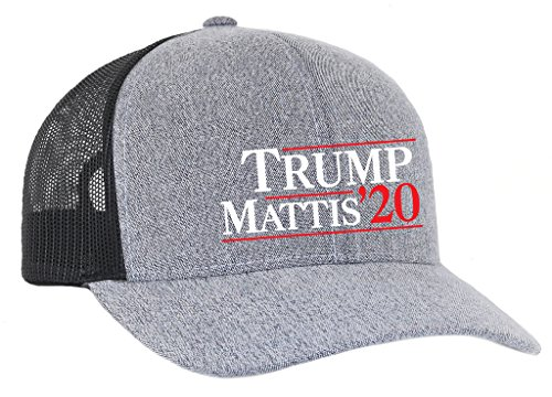 Trenz Shirt Company Trump Mattis 2020 Presidential Election Campaign Embroidered Meshback Trucker Hat-Heather Grey Black Mesh