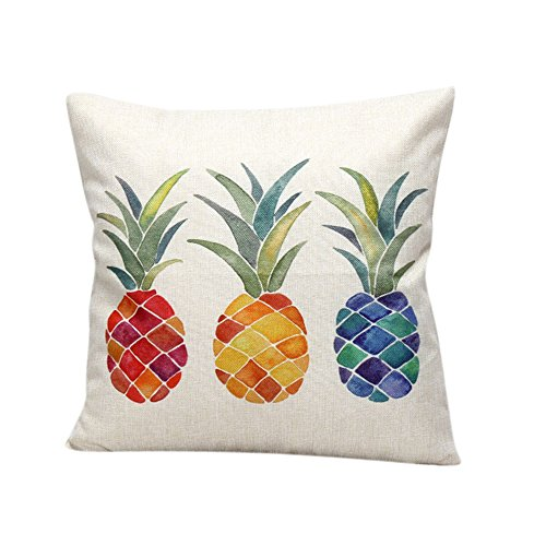 Katara Decor - Colorful Pineapple Throw Pillow Case Cover 18x18 Inches