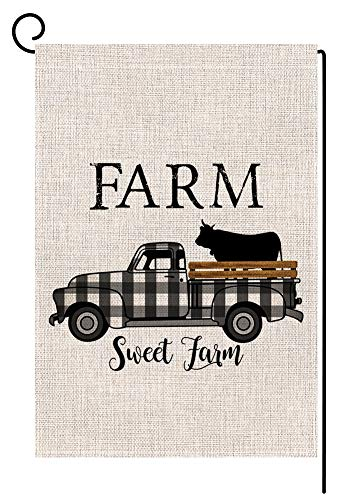 Blkwht Farm Sweet Farm Buffalo Plaids Cow Truck Small Garden Flag Vertical Double Sided 12 X 18 Inch Farmhouse Yard Decor
