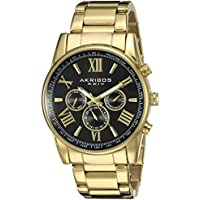 Akribos XXIV Men's AK904YGB Yellow Gold Ion-Plated Two Time Zone Stainless Steel Watch