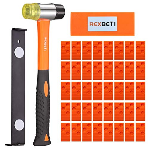 REXBETI Ultimate Laminate Wood Flooring Installation Kit with 40 Spacers, Tapping Block, Heavy Duty Pull Bar and Diameter 35mm High-Strength Fiberglass Handle Mallet, Non Slip Soft Grip (Orange)
