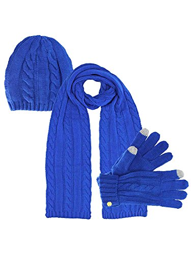 Royal Blue 3 Piece Beanie Hat Texting Gloves & Matching Scarf Set