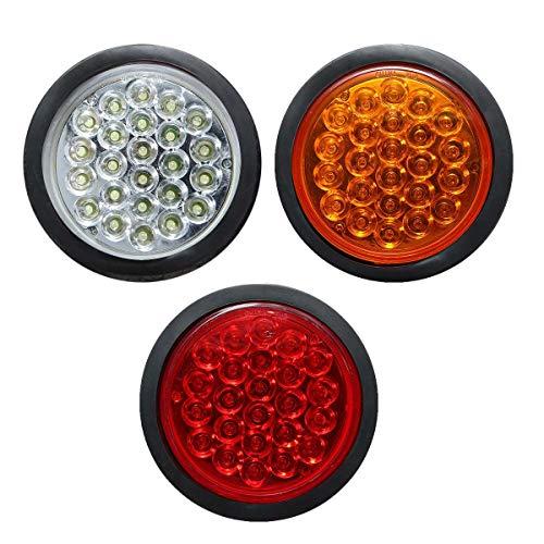 Iris-Shop - Rear Tail Brake Stop Marker Light Indicator Car Truck Trailer 24 LEDS Round Reflector Red Yellow White 1PC 24V