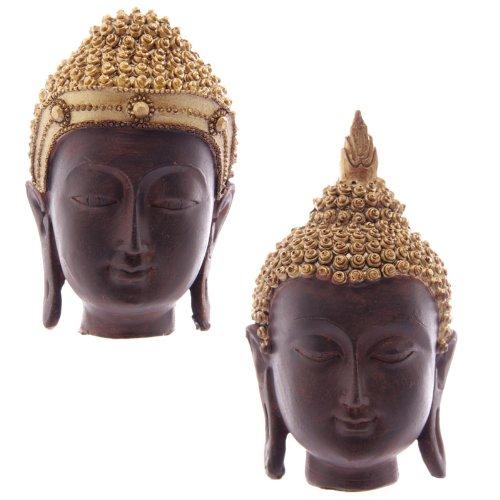 Piccola testa di buddha thailandese oro e marrone in resina - 9 - 10 cm PUCKATOR BUD191