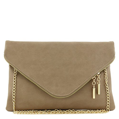 Large Envelope Clutch Bag with Chain Strap (Dark Brick)