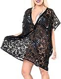 La Leela Women's Beach Swimwear Cover UPS Swimsuit Dress Bikini Blouse, Black Brasso, One Size