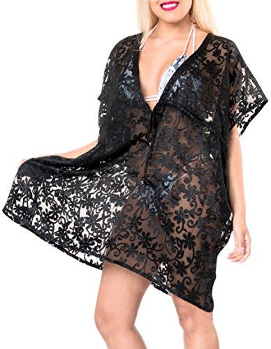 La Leela Women's Beach Swimwear Cover UPS Swimsuit Dress Bikini Blouse, Black Brasso, One Size by LA LEELA