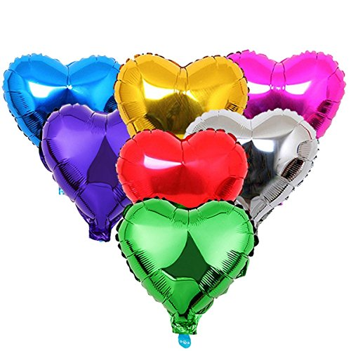 Youzpin 21Pcs Multi Color Foil Balloons Heart Shaped Helium Balloon Circle Balloons Aluminum Film Foil Balloons 18