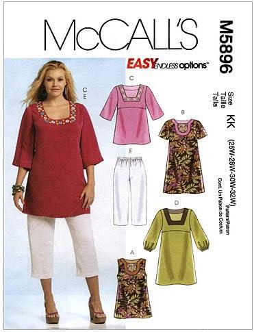 McCalls Patterns M5896 - Patrones de Costura para Camisas, Vestidos y Pantalones Capri para Mujer, KK (26W-28W-30W-32W)