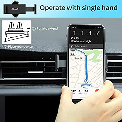JEBSENS Car Phone Mount, CA06 Air Vent Phone Holder with Dual Clips, Compatible with iPhone Xs Max XR X SE 8 8P 7 7 Plus, Samsung Galaxy S8 Edge S9+ S10, Nexus (Black): Electronics