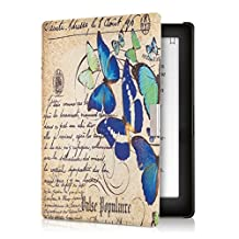 kwmobile Elegant synthetic leather case for the Kobo Aura Edition 1 Design butterflies writing in blue mint beige