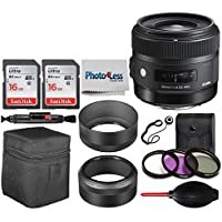 Sigma 30mm f/1.4 DC HSM Art Lens for Canon + 32GB SDHC Memory card + 62mm 3 Piece Filter Kit + Deluxe SLR Dust Blower + Lens Pen + Photo4Less Cleaning Cloth + Lens Cap Holder - Top Accessory Bundle
