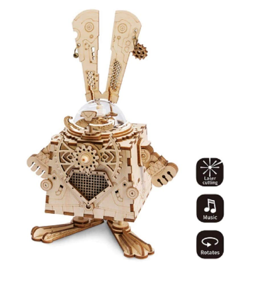 Steam Punk Bunny Model with Music Box Wooden Building DIY 3D Wooden Puzzle 3