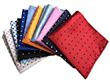 MENDENG Mens 10 Pack Assorted Cotton Polka Dots Pocket Square Handkerchief Hanky