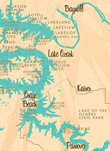 Amazon.com: Lake of the Ozarks *with mile marker* Map Metal Sign ...