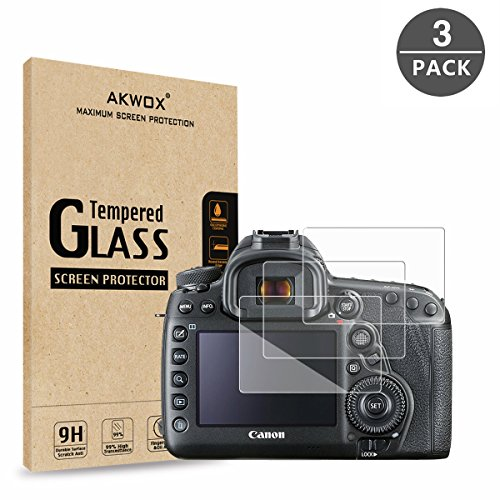 (AKWOX (Pack of 3) Tempered Glass Screen Protector for Canon EOS 5D MK IV Mark 4, [0.3mm 2.5D High Definition 9H] Optical LCD Premium Protective)