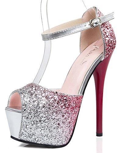 Aisun Women's Sexy Sequins Platform Spikes Stiletto Heels Ankle Strap Sandals Red