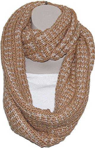 Liz Claiborne Scarf - Liz Claiborne New York Bicolor Stitch Infinity Scarf (One Size, Camel)