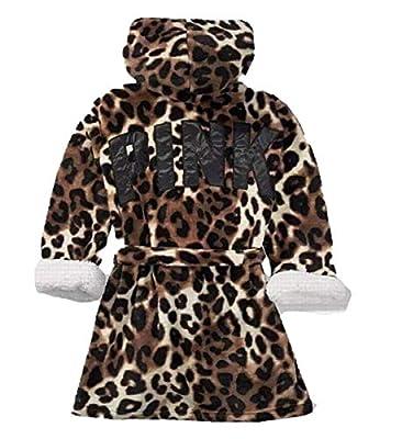 Victoria's Secret Pink Cozy Hooded Sherpa-Lined Plush Short Robe, Leopard Black Logo